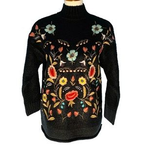 Navy Embroidered Floral NWT Mock Neck Sweater S